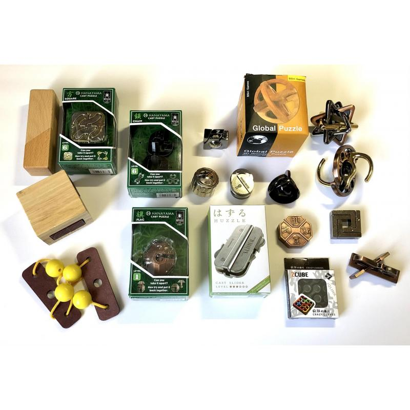 Hanayama Metal puzzle Lot Brainteaser Unlink Takeapart Wooden Slider Chain Marble
